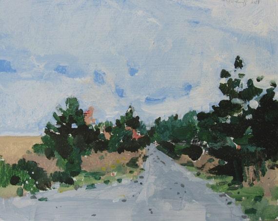 Service Path, Original Small Landscape Painting on Panel