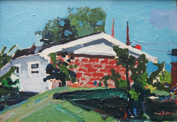 Old Mays House, Original Small Framed Landscape Painting