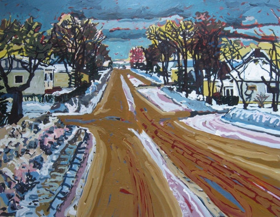 Prairie Town, Winter, Original Larger Urban Landscape Painting on Paper