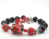 Red Coral, Black Onyx Bracelet, Gemstone, Bali Sterling Silver - OzmayDesigns