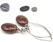 Earthy Stone and Sterling Earrings, Hand-Forged Almond Earwires, Rustic Focals