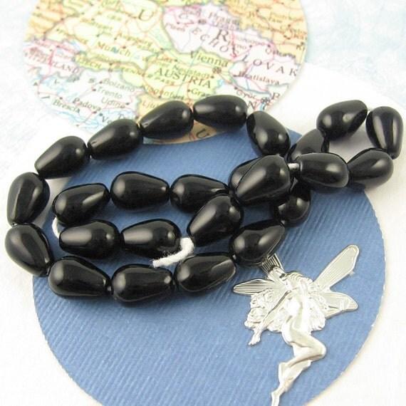 Black Teardrops, Czech Glass Beads, 8mm, 25 Pieces, Jewelry Supply Destash