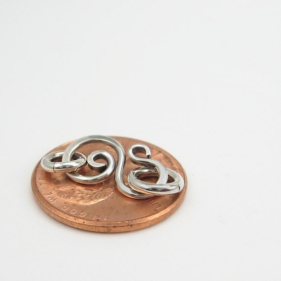 Itty Bitty Sterling Clasp, Hand Forged Wirework, OX'd Silver, Fab for Chain