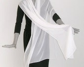 "White Bridal Wrap  Silk Shawl, Natural Soft White Silk Chiffon Formal or Evening Long Stole, 21"" x 83""."