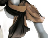 Black Camel Brown Scarf,  2 Layers 100% Silk Chiffon, Unique Reversible Hand Dyed.