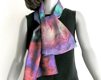 Hand Painted Silk, Unique Scarf,  Multicolor Scarf, Purple Ochre Rust, Muted Renaissance Colors, Hand Dyed, Artisan Handmade, Jossiani.