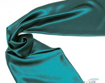 Emerald  Green Scarf Natural Mulberry 100% Silk Charmeuse.