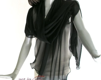 "Large Black Shawl, Wide Coverup, Black Chiffon Wrap, Plus Size Shawl, Formal Special Occasion, M L XL Plus, 10mm, 24x74"", 26x84"", Artinsilk"
