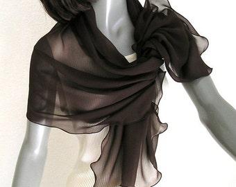 Brown Sheer Coverup, Petite Chocolate Wrap, Dark Brown Scarf, Chiffon, Truffle Stole, 100% Silk, S XS Petite, Artisan Handmade, Artinsilk.