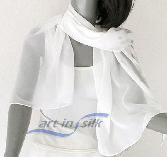 "Sheer Bridal Shawl Soft White Chiffon Wrap Natural White 19"" x 72"" Hand Hemmed, ready to ship."