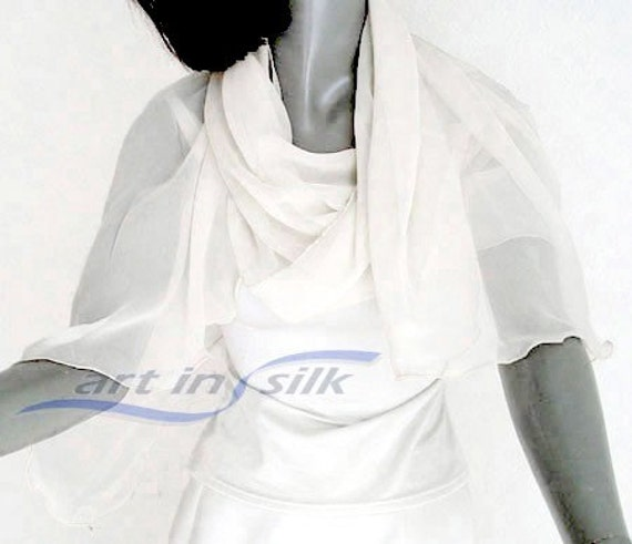 Wedding Sheer Shawl Silk Chiffon Natural White Coverup, Bridal Scarf Light Ivory Evening Stole, Soft White See Through S XS M, Artinsilk,