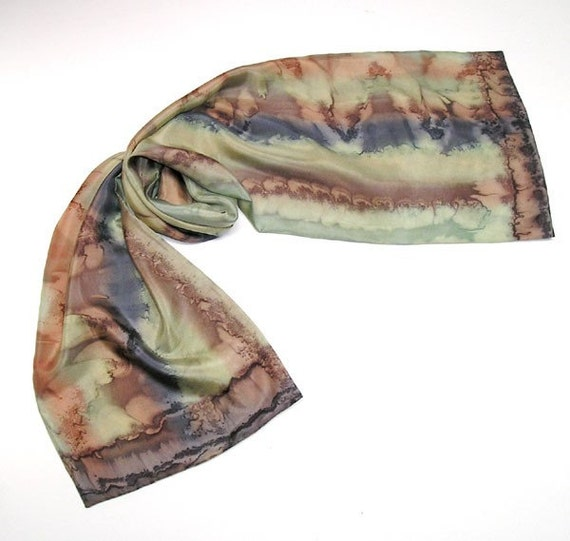 Cedar Coffee Starfish Scarf, Hand Painted Silk, Brown, Dried Herb, Rust, OOAK by JOSSIANI.