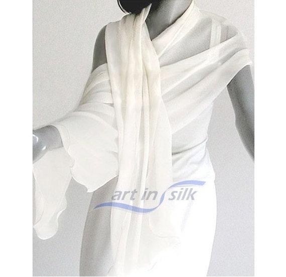 "Soft White Shawl Long Wrap Sheer Natural White Bridal 100% Silk Chiffon 8mm 21"" x 88""."