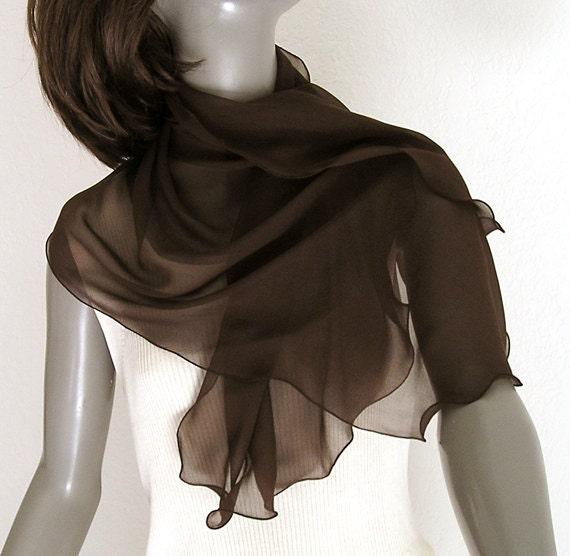 """Brown Scarf Wrap, Silk Chiffon Shoulder Scarf,  Evening, One of a Kind, 21"""" x 39""""."""