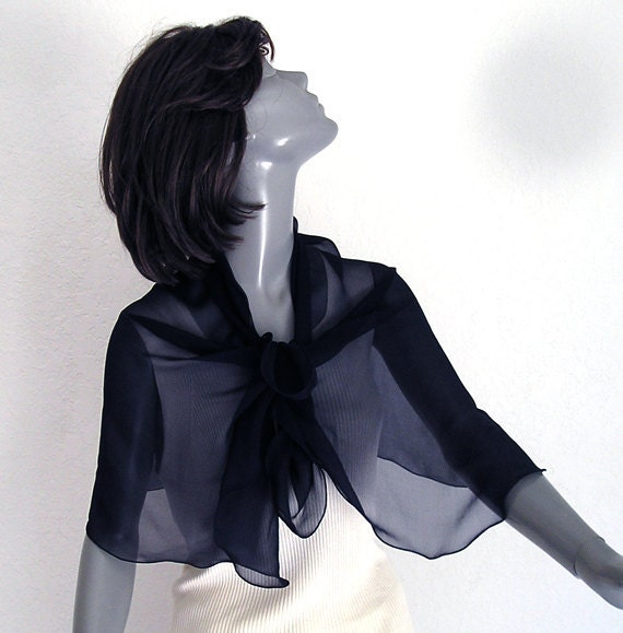 "Dark Navy Silk Chiffon Scarf  Ink Blue Small Shoulder Wrap Pure Mulberry Silk 20""x42""."