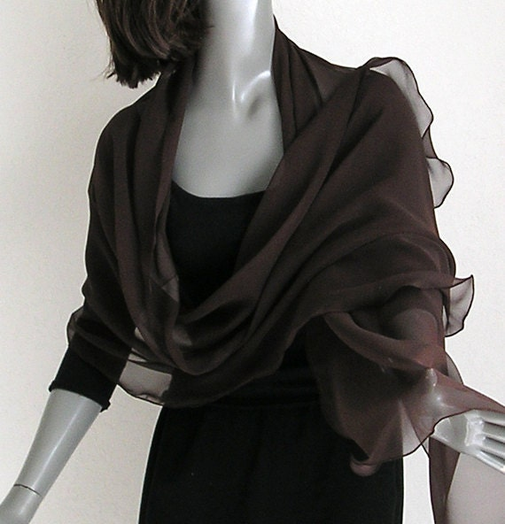 "Dark Chocolate Brown Wrap Shawl 100% Silk Chiffon Formal Bridal Evening, 20"" x 72""."