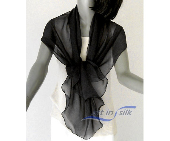 "Black Shawl Wrap, Unique Evening Stole, Natural Luxurious Silk Chiffon 8mm, 20"" x 64""."