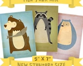 Woodland Nursery Decor - 5 in x 7 in Critters Series - Pick Your Mix - Set of 3 Illustrations