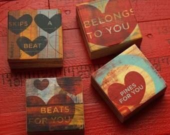 "Valentines Decor- Valentines Gift for Him- Heart Decor- PiccoloBlocco Art Blocks Set of 4-1.5""x1.5""- Husband Gift"