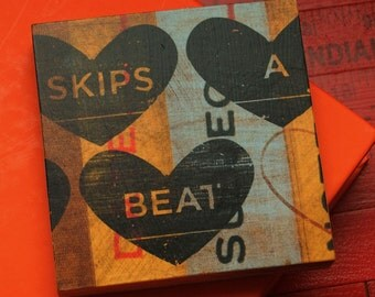 Valentines Decor- Valentines Day Gift for Boyfriend- Gifts for Him- Husband Gift- Heart art- Skips a Beat Art Block or Box