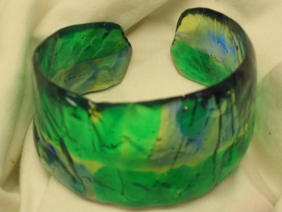 Bangle Bracelet or Cuff - Stained Glass Effect