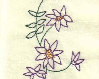 Purple Flower Handmade Embroidered Notecards