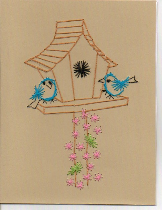 Pack Embroidered Birdhouse Greeting Cards