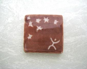 stargazer pottery tile, pendant