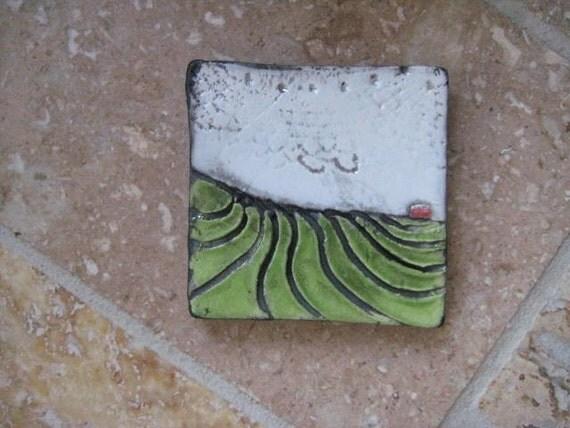 Grandpa's Farm raku clay tile
