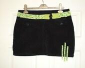 Super Sale Customised Corduroy Skirt with Green Ribbon Detail Size Medium