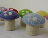 Needle Felted Mushroom - Custom Color Set of 5 - Waldorf Natural Toy Eco-Friendly Party Favor - Felt Play Food