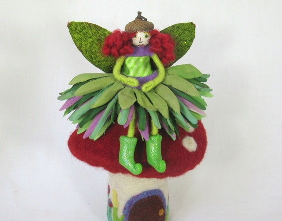 Flower Fairy - Green and Purple Waldorf Inspired Art Doll
