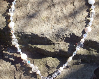 Quartz Crystal and Pearl Necklace