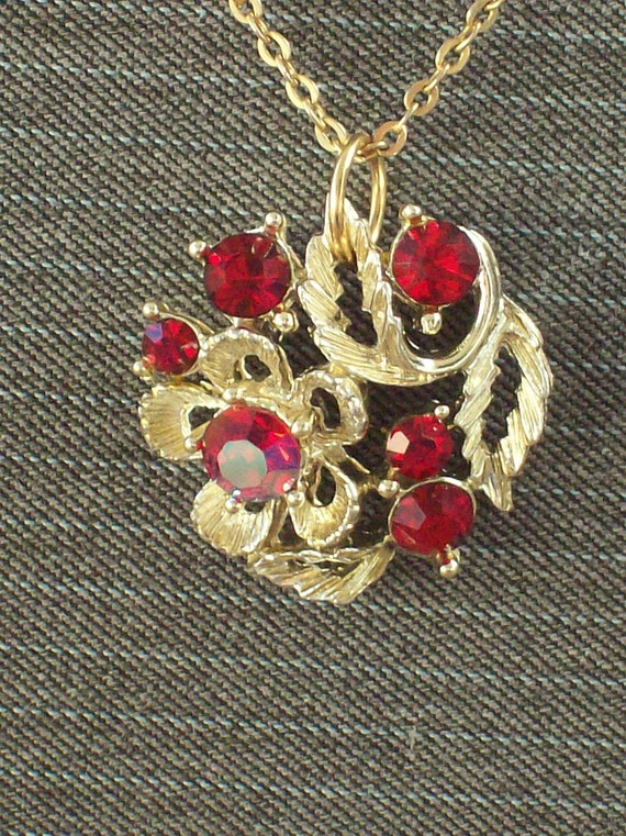 Crimson Bouquet- An Upcycled Vintage and Red Crystal Necklace and Earring Set