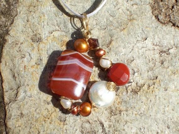 Cinnamon and Vanilla Spice- A Carnelian, Red Jasper and Pearl Pendant
