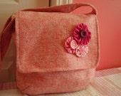 Pink Wool Messenger Bag