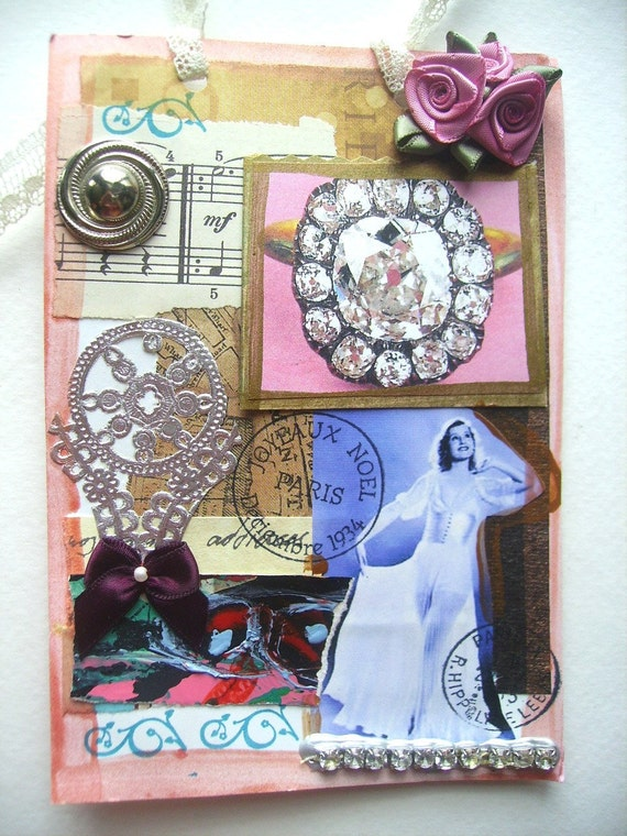 Art Collage Handmade-Double Sided Wall Hanging-Silver Screen Star-One Of A Kind