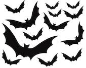 13 Black Bat Vinyl Decals for Halloween Decoration