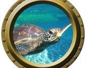 Large Sea Turtle Watching You Porthole Vinyl Decal