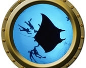 Giant Manta Ray and Divers Porthole Wall Decal