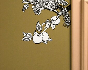 Squirrel in the Apple Tree Vinyl Wall Decal