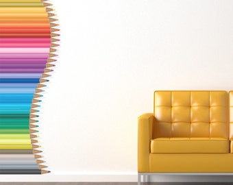 8 Foot Tall Stack of Pencils Vinyl Wall Decal