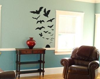 Swarm of 17 Bats Vinyl Decals