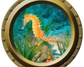Orange Sea Horse Porthole Wall Decal
