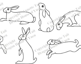 8 Hares Decal Set Vinyl Wall Decal
