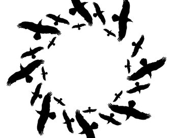Circle of Crows Vinyl Wall Decal