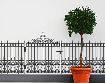 Wrought Iron Fence and Gate Wall Decal Set