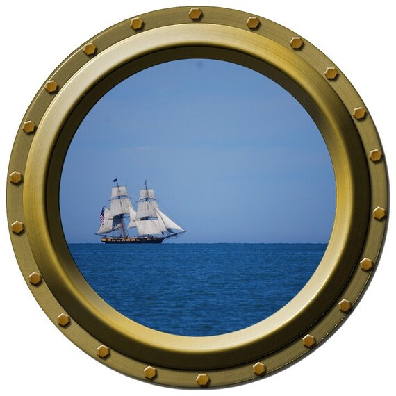 Distant Schooner Porthole Wall Decal