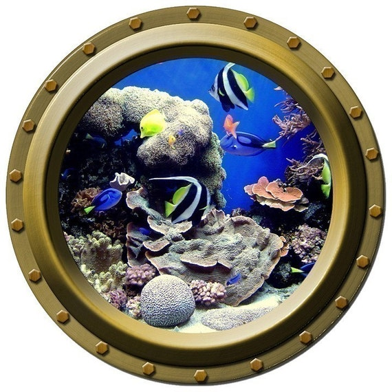 Tropical Fish Paradise Porthole Vinyl Wall Decal