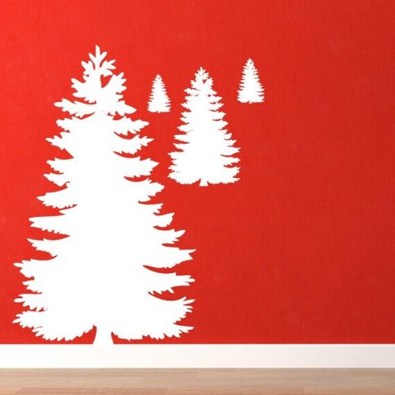 4 Cedar Trees Vinyl Wall Decal Set